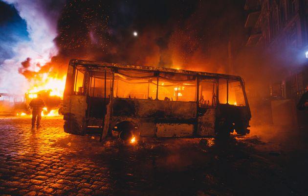 Натрассе вБурятии горел микроавтобус