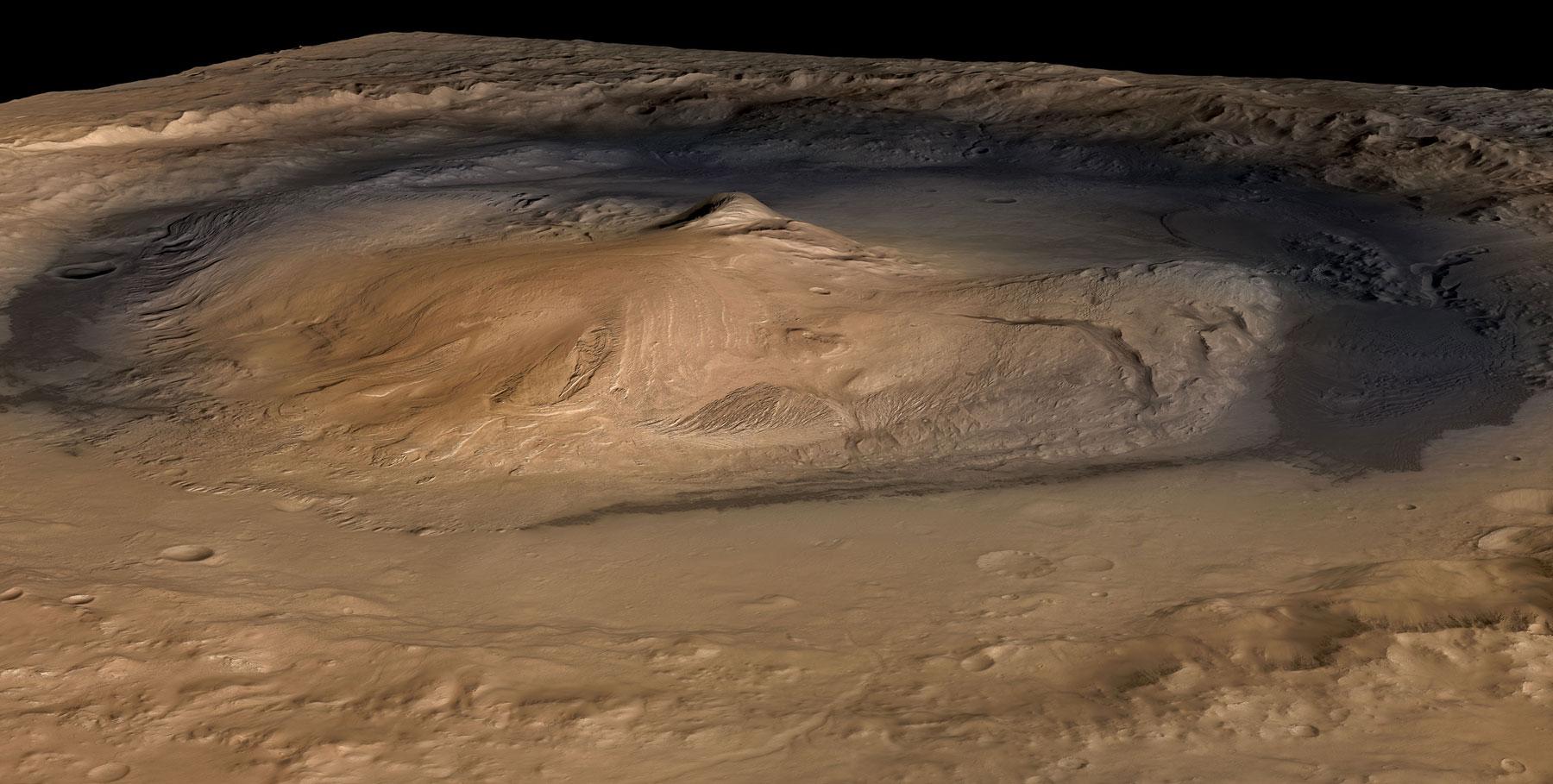НАСА показала тающий лёд вкратере Марса