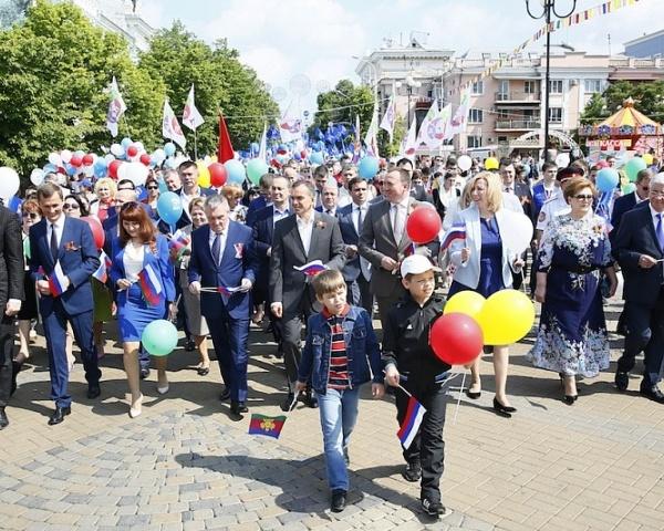 Вениамин Кондратьев принял участие впервомайской демонстрации