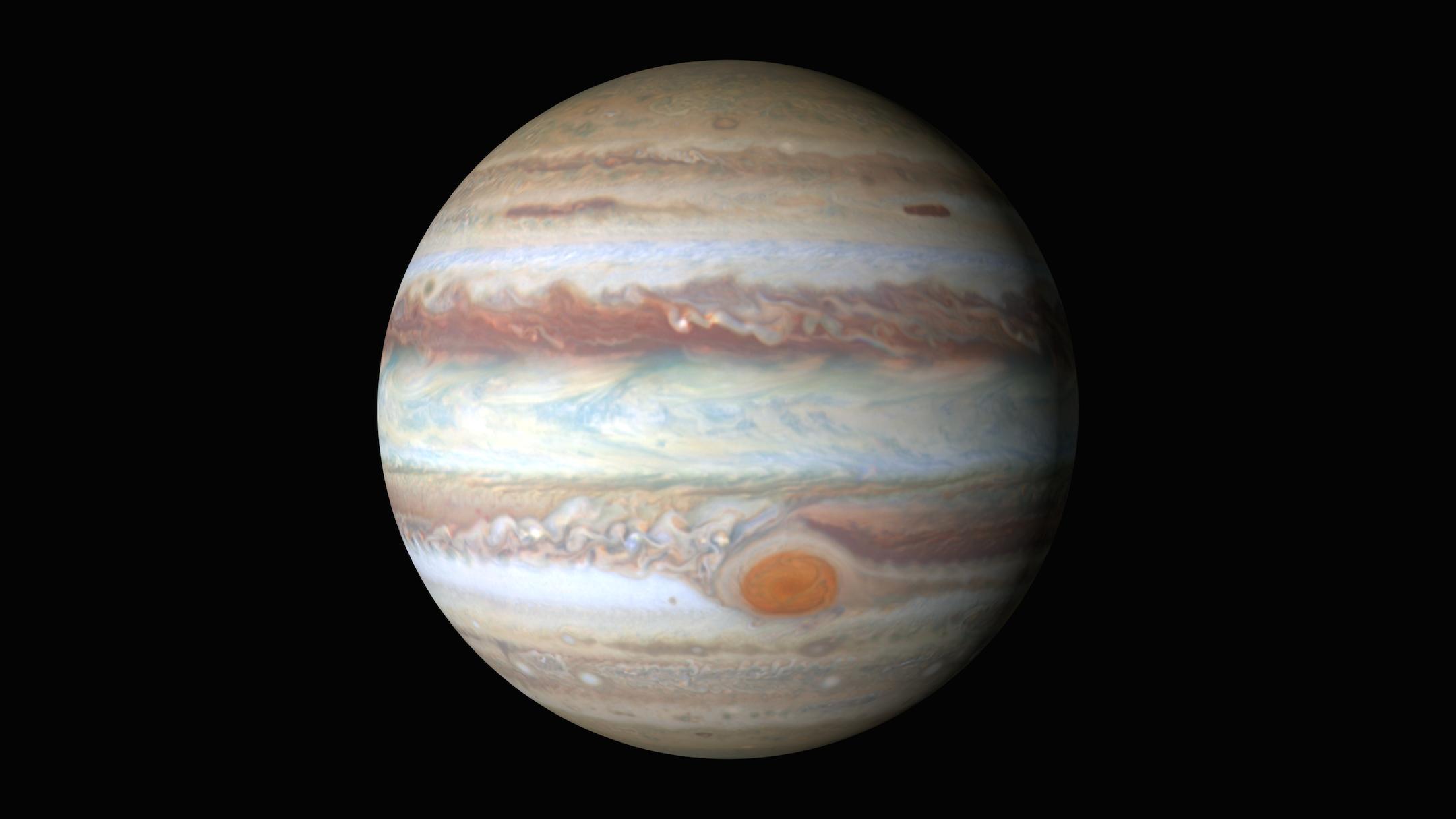 Немалый торнадо размером снашу планету бушует наЮпитере