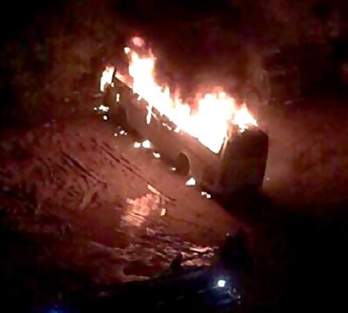 ВКазани настоянке сгорел пассажиррский автобус