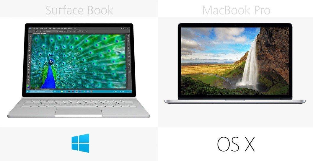 Microsoft и Apple сравнили свои ноутбуки Surface Book и Mac Book Pro