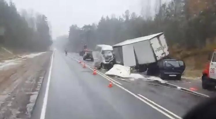 На автотрассе «Петербург— Невель» произошла массовая авария, есть жертвы