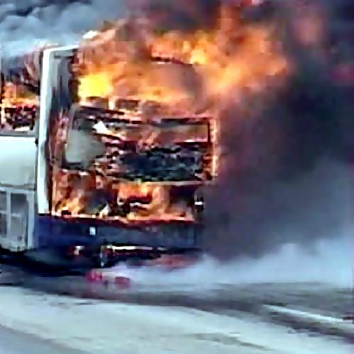 Под Новороссийском сгорел автобус детской футбольной команды