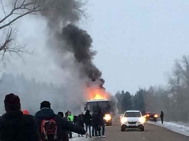 ВБашкирии зажегся пассажирский автобус