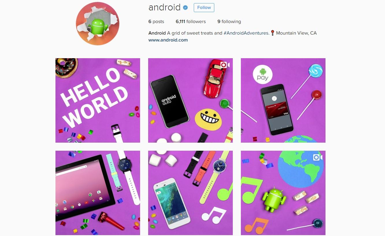 У андроид появился официальный аккаунт в социальная сеть Instagram