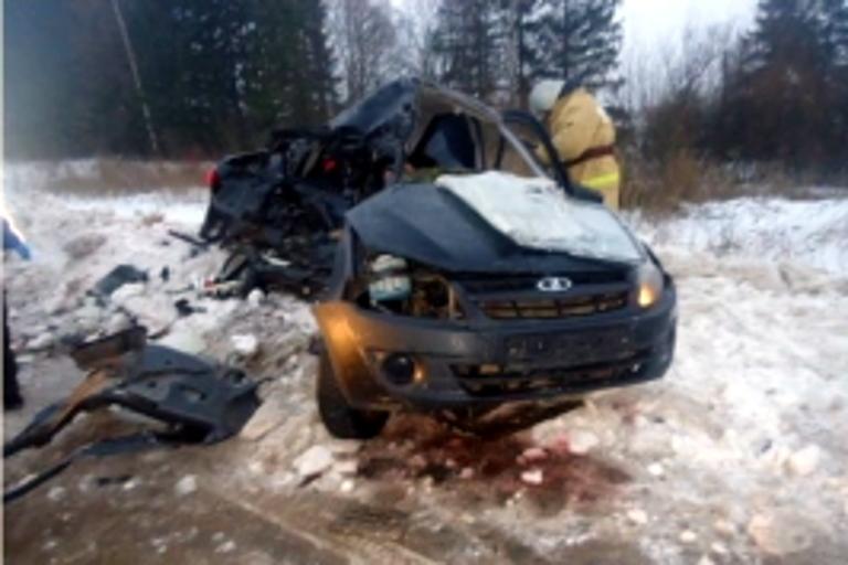 Шофёр ипассажир «Лады» погибли вДТП с грузовым автомобилем вТверской области