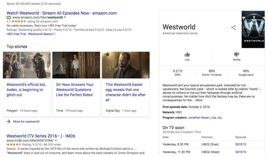 Google запустил собственный рейтинг фильмов и телесериалов в пробном режиме