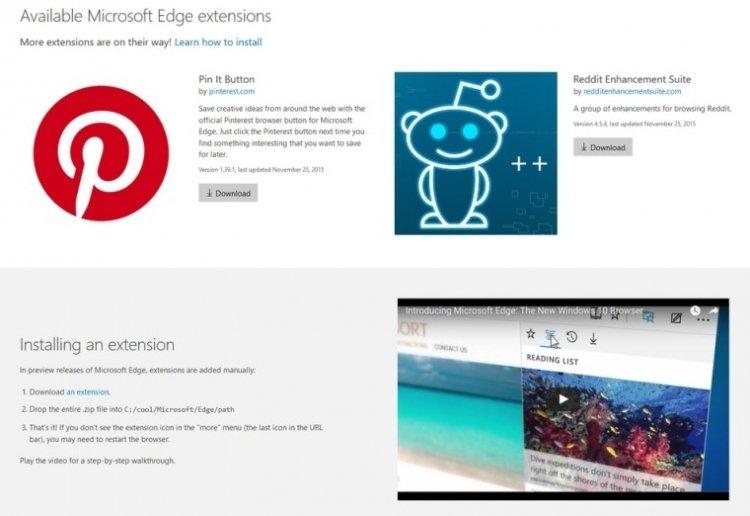 Microsoft подготовила несколько расширений к запуску в браузере Edge