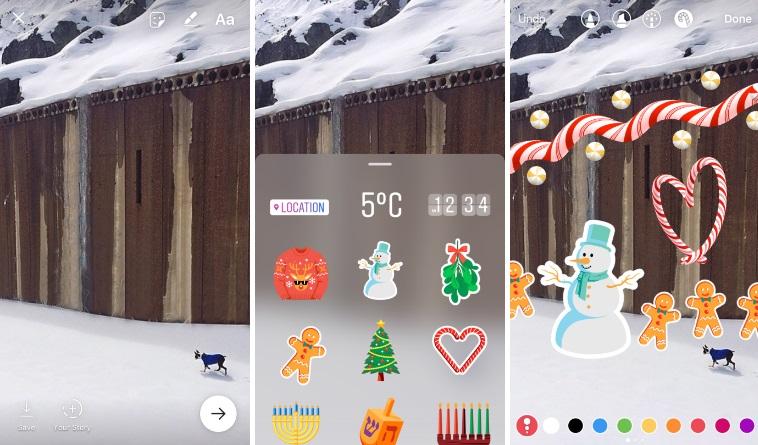 Праздник кнам приходит: новогодние стикеры в социальная сеть Instagram